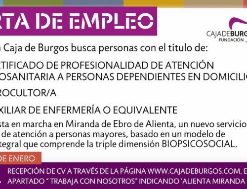 Personal para nuevo proyecto Alienta de Fundación Caja de Burgos