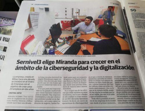El Correo: Sernivel3 elige Miranda para crecer en el ámbito de la ciberseguridad y la digitalización