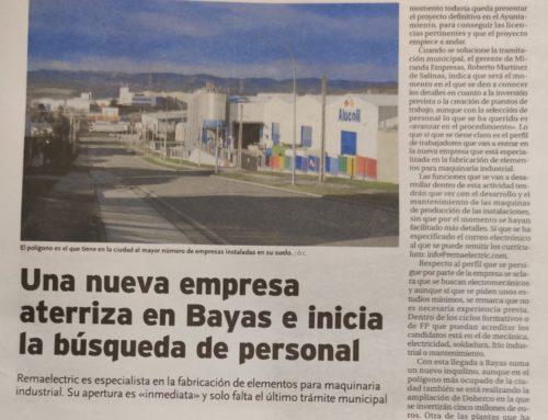 Diario de Burgos: Remaelectric aterriza en Bayas e inicia la búsqueda de personal