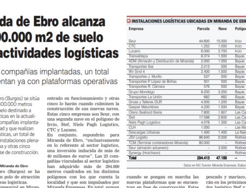 Transporte Siglo XXI: Miranda de Ebro suma 300.000 m2 de suelo para logística