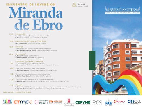 """La cumbre virtual de ciudades atractivas para la inversión """"Invest in Cities"""" de Miranda de Ebro se celebrará el 3 de diciembre"""